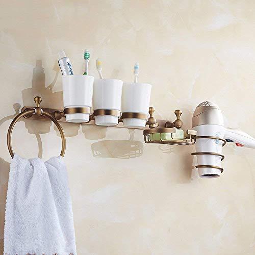 Glas-antik-zahnbürste-halter (CWJ Badezimmer-Hardware-Wand hängende Pole-Antike-Seifen-Teller-Netz-Tuch-Ring verbunden mit den Haken-Regalen Haartrockner-Gestell-Schalen-Schalen-Zahnbürsten-Halter-Tuch-Zahnstange,B)