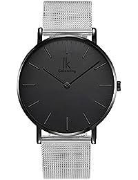 Alienwork Reloj cuarzo elegante cuarzo moda diseño atemporal clásico Metal negro plata U04916G-02