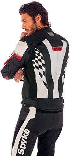 Spyke-4-RACE-GP-Giacca-Pelle-Moto-Per-Uomo-Nero-Rosso-Bianco-EU50