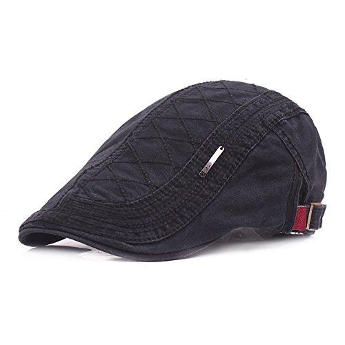 LLCP Männliche und Weibliche Mützen, Vier Jahreszeiten Verstellbare Atmungsaktive Kappe, Eine Vielzahl von Farben Fahrer Flat Hat Beret,Black