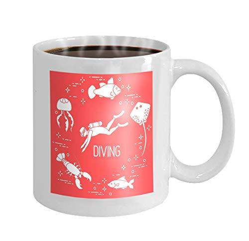 Custom Coffee Mug 11 Oz Ceramic Gifts Tea Cup diver jellyfish lobster stingray fish diver jellyfish lobster stingray fish sports recreation theme Stars - Tiger Stingray