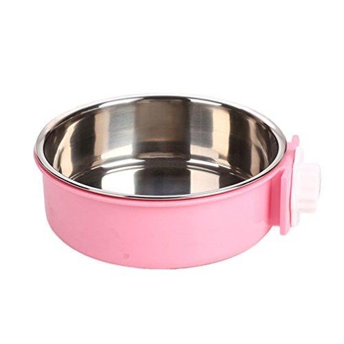LvRao 2-in-1-Kunststoffnapf & Edelstahlnapf, Fressnapf Hundenapf Katzennapf Futternapf Wassernapf, perfekt für Kisten & Käfige (Pink, 14.4*4.7cm) (Großer Hund Kiste 2 In 1)