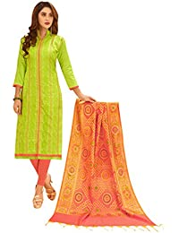 Women'S Light Green Semi Stitched Embroidered Glaze Cotton Dress Material