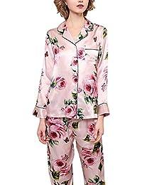 AXIANQI Pijamas Traje De Damas Flores Rosadas Pijamas Sexy 100% Tela De Seda De Morera