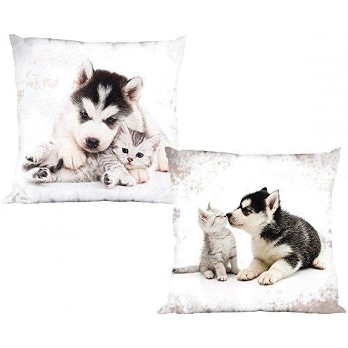 2er Set Katze & Hund - Kissenbezüge - 40x40 cm
