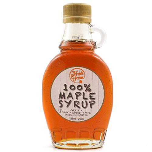 Jarabe de arce Grado A (Dark, Robust taste) - 189ml (250g) - Miel de arce - Sirope de Arce - Original maple syrup