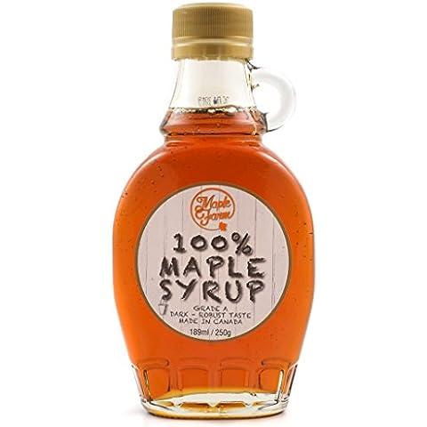 Puro sciroppo d'acero Canadese Grado A (Dark, Robust taste) - 189ml (250g) - Maple syrup - Puro succo d'acero