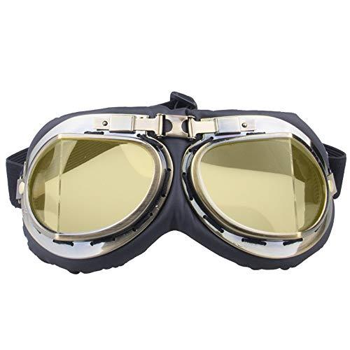 Easy Go Shopping Windschutzbrillen UV-Schutzbrillen Vintage Harley-Brillen Motorrad-Cross-Country-Brillen Sonnenbrillen und Flacher Spiegel (Farbe : A)