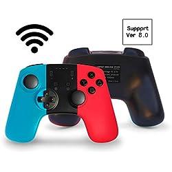 JFUNE Switch Controller 8.0, Manette pour Nintendo Switch, Switch Pro sans Fil Contrôleur Bluetooth Gamepad 6.0 (Blue & Red)