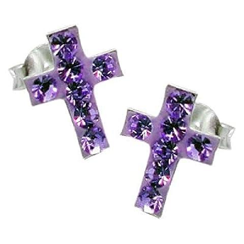 So Chic Schmuck - Ohrstecker Jesus Christus Kreuz Kruzifix Kristall Amethyst Sterling Silber 925 (Amethyst Sterling Silber Kruzifix)