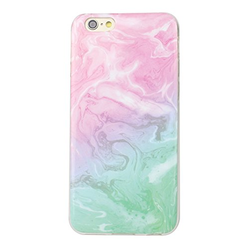 iPhone 6 Cover, Custodia iPhone 6S, Moon mood Ultra-Thin Slim Soft Gel TPU Silicone Cover per iPhone 6S Colorful Marble Texture Case Bumper Skin Scratch Resistant Posteriore Morbido Caso Custodie Cove Marble -7