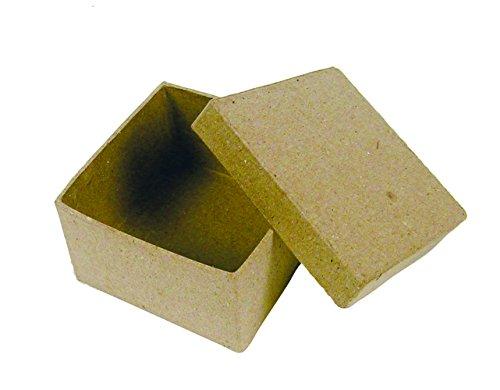 Clairefontaine 11159 Boîte en Papier Mâche Mini à Décorer Carrée 4.5 x 4.5 x 3 cm Plastique Blanc
