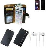 K-S-Trade TOP Set für OnePlus 6T Portemonnaie Schutz Hülle schwarz aus Kunstleder + Kopfhörer Walletcase Smartphone Tasche für OnePlus 6T vollwertige Geldbörse mit Handyschutz