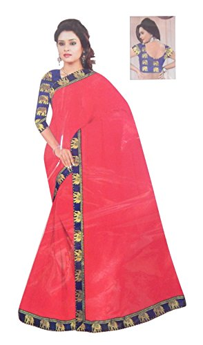 Super Stylish Elegant Elephant Printed Border Saree With Blouse (Light Red Color)