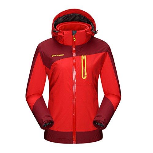 FLYGAGA Femme 3 en 1 Coupe-Vent Capuche Imperméable Respirant Outdoor Sport Veste pour Camping Randonnée Escalade Manteau (XX-Large, Rouge)