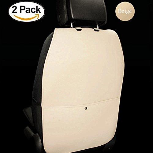 HCMAX 2 Pack Prämie Rückenlehnenschutz Auto Rückenlehne Schutz Wasserdicht Einfach zu Säubern Multifunktional Veranstalter Aufbewahrungstasche Reisezubehör PU-Leder