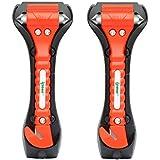 [2 Pack] Ipow Car Emergency Escape Window Break Hammer Safety Seat Belt Cutter Tool (Big)