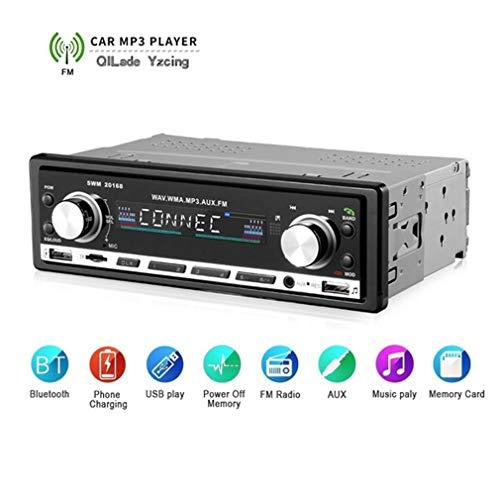 QILade Yzcing Autoradio Bluetooth, Single Din Autoradio Receiver MP3 Player Digitale Medien Receiver Freisprecheinrichtung USB SD FM AUX Drahtlose Fernbedienung, Unterstützt TF Karte und U Disk