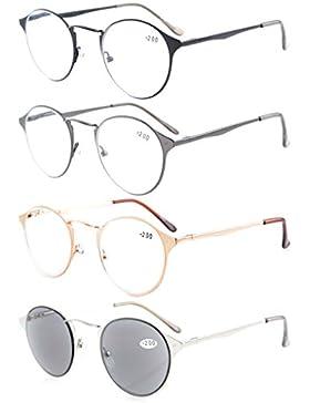 Eyekepper Bracci a molla visione cristallina 4-pack Comfort tondo lettura occhiali inclusi Sun-lettori +2.75