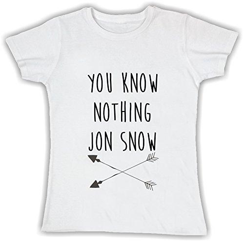 T-shirt DONNA cotone BASIC super vestibilità top qualità - YOU KNOW NOTHING JON SNOW divertenti humor MADE IN ITALY (S, BIANCO)