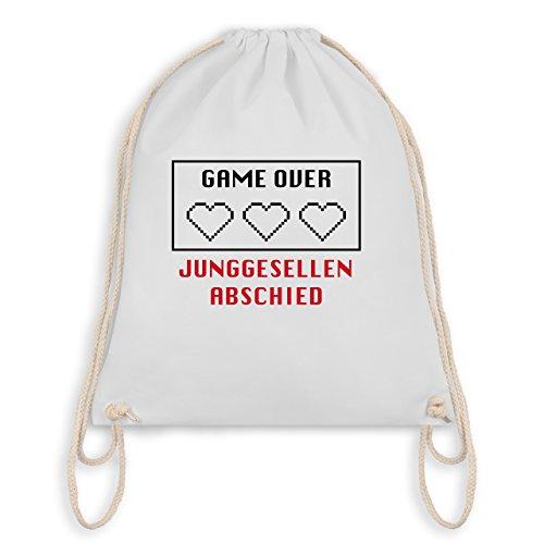 9118db2fa271a JGA Junggesellenabschied Game Over Herzen Turnbeutel I Gym Bag Weiß ...