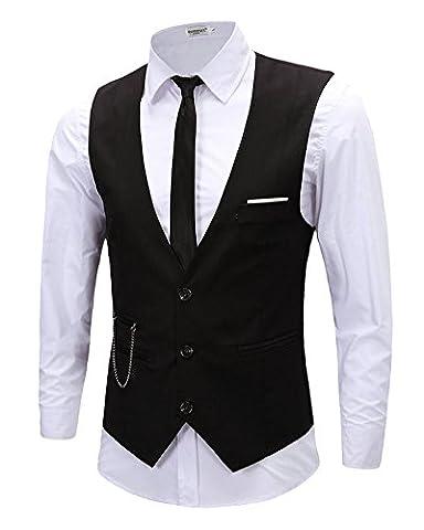 LIQY Mens Casual Sleeveless Vintage Style Vest V-neck Slim Fit Skinny vest Waistcoat,Smart Waistcoat,Cotton Waistcoat