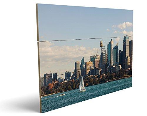 Skyline, qualitatives MDF-Holzbild im Drei-Brett-Design mit hochwertigem und ökologischem UV-Druck Format: 100x70cm, hervorragend als Wanddekoration für Ihr Büro oder Zimmer, ein Hingucker, kein Leinwand-Bild oder Gemälde (Center Dc Herren)