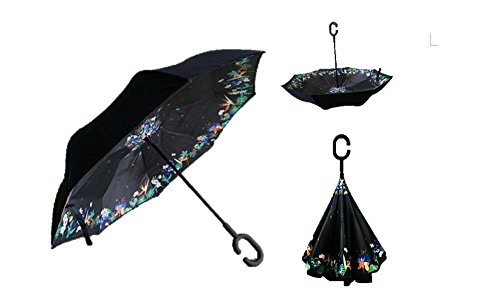 Autonorth Double Layer Reverse Outdoor Stick Umbrella Windproof Waterproof and Self Standing Inside Out Umbrella Best for Travelling and Car Using Color Special Flower