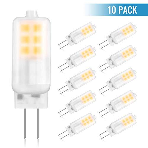 GLIME 10 Pack Ampoule LED G4 3W Blanc Chaud Économie d'énergie Equivalent 30W Ampoule à Halogène 3000K AC/DC 12V 250lm 360°Angle de Faisceau