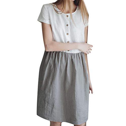 B-commerce 2019 Retro Kleider - Frauen Casual Farbblock -