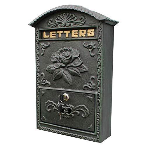 Shao jun cassetta delle lettere - metallo, fiori in ferro battuto europeo ricco di colore verde scuro appeso a muro, adatto per ville, cortili, case - 37.5x33x10.8cm impermeabile all'aria aperta