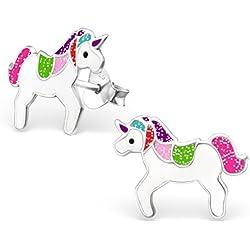 Laimons Kids Pendientes para niña Unicornio colorido con el brillo Plata de ley 925