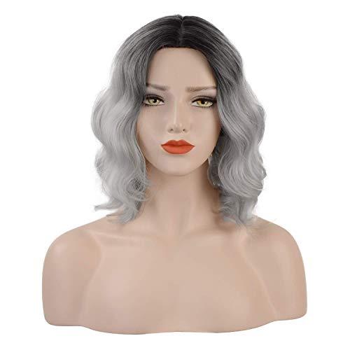 FESHFEN Peluca de pelo ondulado corto de 14 pulgadas de pelo oscuro a azul claro para mujeres y niñas...