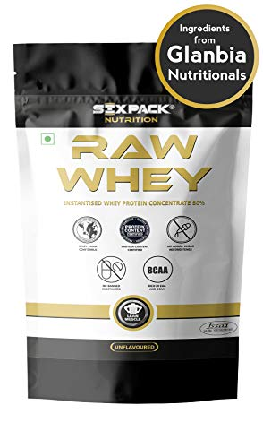 Six Pack Nutrition Raw Whey Protein Powder Instantised Whey Protein Concentrate 80% - 907 g/2lbs (Unflavored)