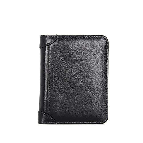Jxth Portafoglio Classico da Uomo Portafogli Trifold in Pelle RFID Portafoglio da Uomo Porta Carte di Credito da Uomo Portafoglio Porta Carte di Credito (Colore : Nero)