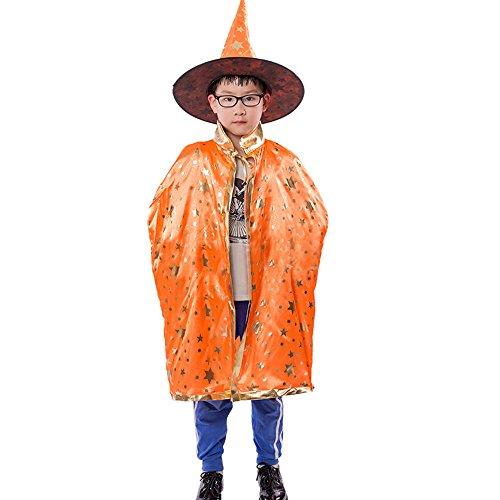 Maleya Kinder Halloween Kostüm Zauberer Hexe Mantel Cape Robe und Hut für Jungen Mädchen Happy Halloween Magier Kostüm Set Zauberer Hexe Mantel Cape Robe Und Hut Für Jungen Mädchen - Magier Kostüm Kind