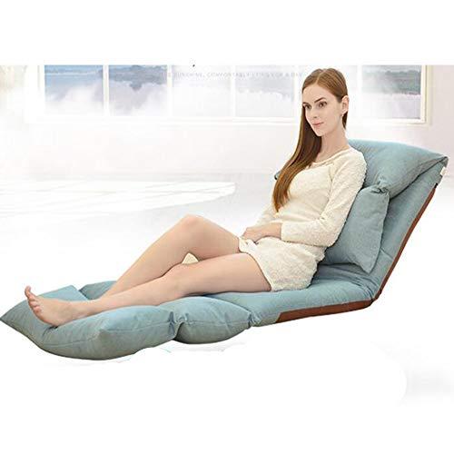 QMKJ 180 ° Librement Plier canapé Haute densité élastique lit canapé de Luxe Chaise Lounge intérieur et extérieur Enfants Adultes Bleu 226CM * 68CM