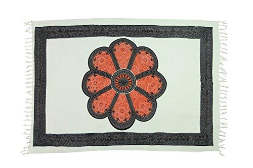 Sarong Pareo Wickelrock Strandtuch Tuch Schal Wickelkleid Strandkleid Blumen Muster Weiß Blumen Muster Bunt (Pareo Muster Damen Sarong)