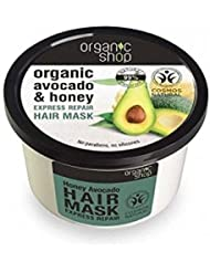 ORGANIC SHOP Hair Mask Avocado and Honey - Restructuring Care for Dry Hair - Treated Hair & Split Ends - Deeply moisturizing - Nickel Tested & Vegan - 250 ml