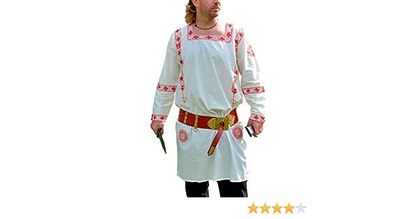 Römer Langarm-Tunika rot bestickt Mittelalter Reenactment LARP Bekleidung