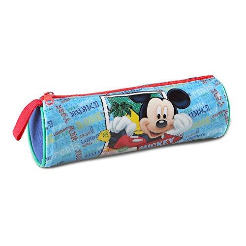 Atosa-33235 Disney Estuche Niño Mickey de Tubo Color Celeste 21,5 x 7,5 cm (33235