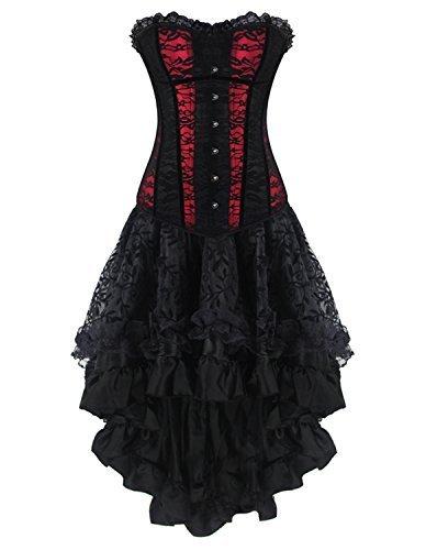 Burvogue - Corsetto da donna in stile gotico, bustino in pizzo con gonna Red 1 Medium