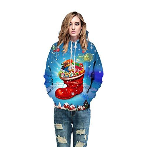 Auiyut Damen Langarm Sweatshirt Kreativer Pullover 3D Hoodie Frauen Kapuzenpullover Weihnachtsmann Pulli Weihnachts Sweatshirt Gedruckte Jumper Christmas Bequemes Shirts für Festival Karneval Party