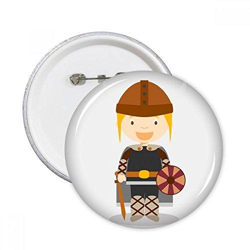 DIYthinker Botón de Viking Suecia dibujos animados pernos redondos insignia 5pcs regalo de la decoración Ropa Multicolor SG