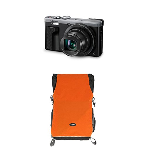 Panasonic LUMIX DMC-TZ81EG-S Travellerzoom Kamera (18,1 Megapixel, LEICA Objektiv mit 30x opt. Zoom, 4K Foto und Video, Sucher, 3-Zoll Touch-LCD) silber+Rollei Traveler Fotorucksack Canyon L Orange