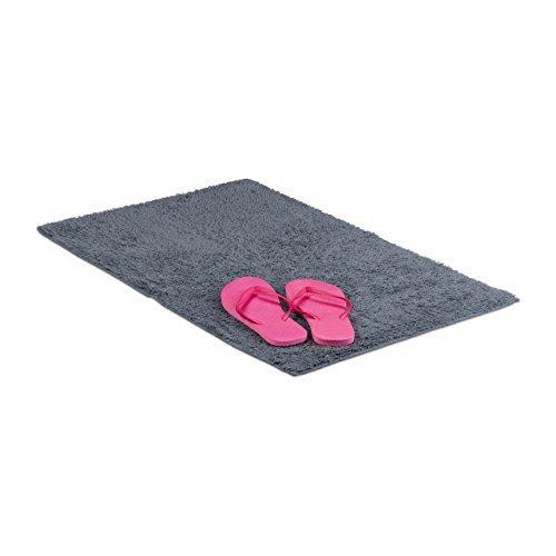 Relaxdays Badteppich 50 x 80 cm, Badematte waschbar, Badvorleger für Fußbodenheizung, grau