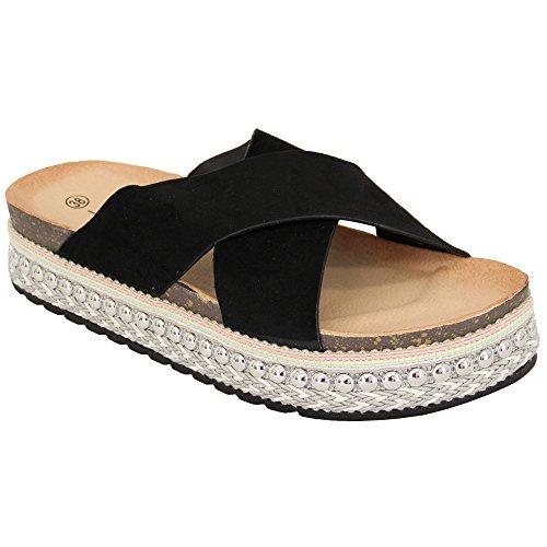Ws donna effetto scamosciato plateau corda sandali donna espadrillas zeppa borchie scarpe - nero - ls20, 5 uk