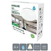 AUROLITE LED Super Slim 32W IP44 Ceiling Lights, Ø 38cm, 4000K, 2800LM, Waterproof, Lighting for Bathroom, Kitchen, Hallway, Office, Flush Ceiling Light, Bath Ceiling Light