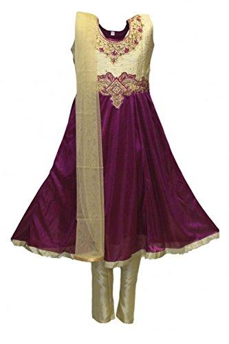 nta und Gold Mädchen Churidar Anzug Indian Bollywood Fancy Dress 26 (approx 5-6 years) (Fancy Dress Krishna Kostüm)