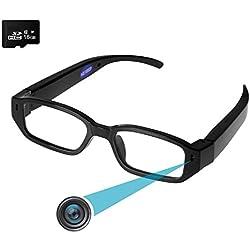 HD Kamera Brille Forepin® 16GB 1920 * 1080P HD Spion Kamera Videobrillen DV Camcorder Spycam mit 5 MPix für Radfahren Motorad Bike ((erweiterbar auf 32GB))